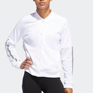 Adidas Recycled Snap Jacket White Mesh Bomber XL